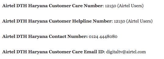 Airtel DTH Customer Care