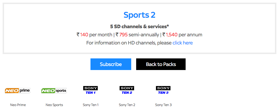 Tata Sky Sports Package
