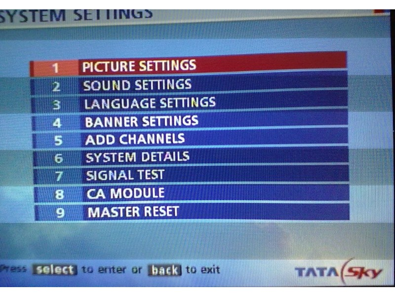 Tata Sky First Time Installation Settings