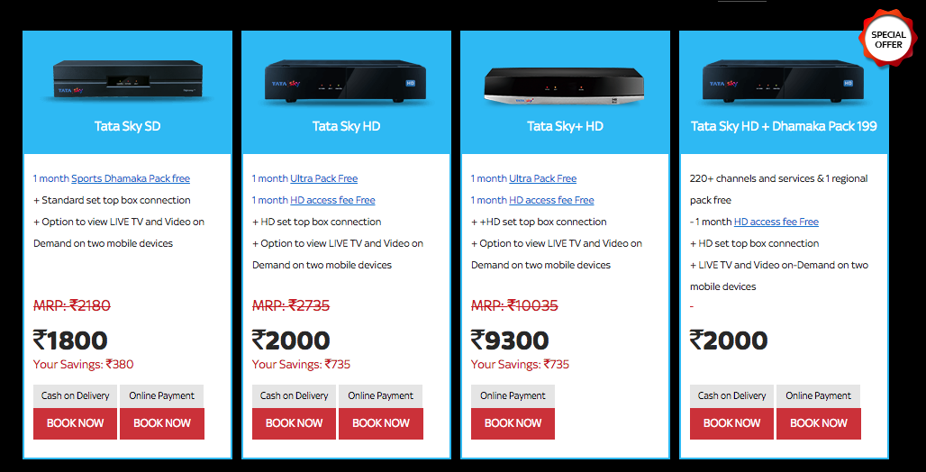 Tata Sky Packages Price List For Weekly Monthly Yearly